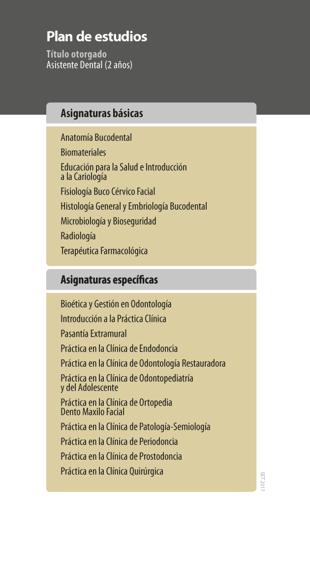 Plan de estudios Asistente Dental